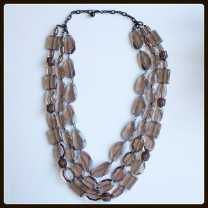 Jewelry - faceted smoky quartz triple strand necklace